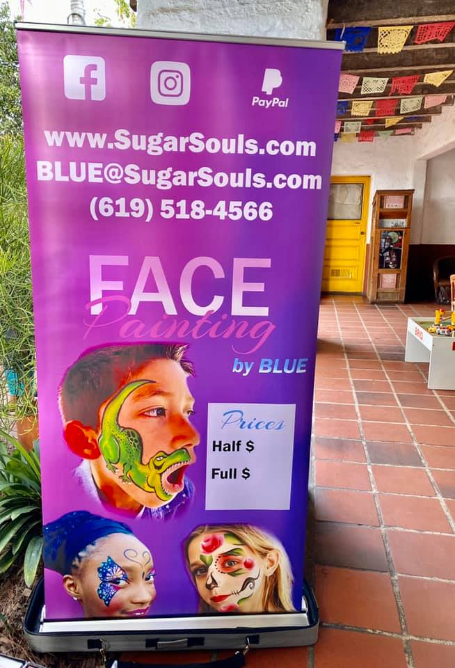 Face Painting Sign at San Diego Old Town