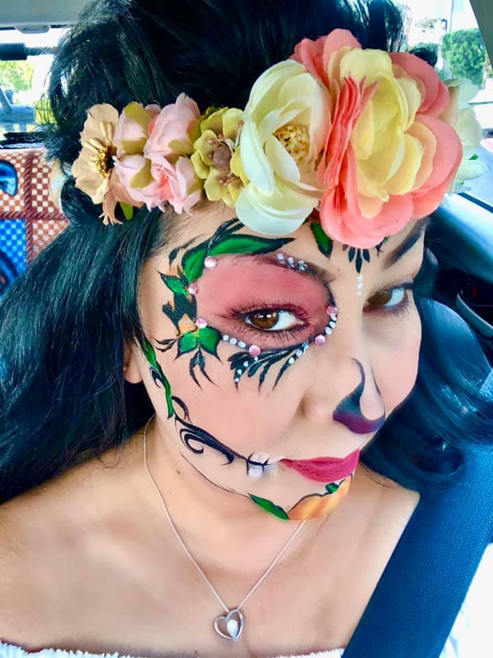 Pumpkins and kitties Sugar Skull face painting